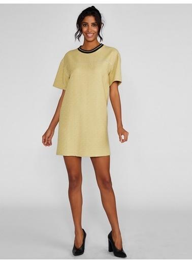 Vekem-Limited Edition Sıfır Yaka Kısa Kollu Mini Elbise Yeşil
